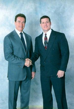 Chiropractor Shelby NC Dennis Reno with Arnold Schwartzenegger